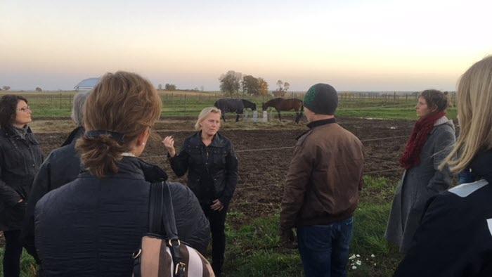 Hästföretagardag 16 okt 2017 på Vreta Kluster Östergötland. Marie Iggstedt, Stallchef på Vretagymnasiet visar hästhagarna.
