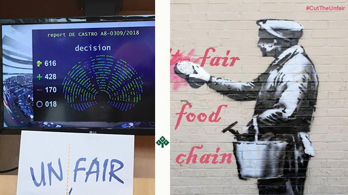 EU röstade för rättvisare fördelning i livsmedelskedjan trots handelns aggressiva kampanj.