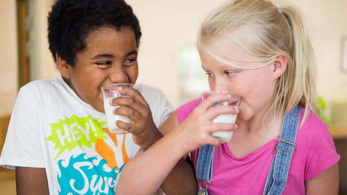 Tioåringar dricker mjölk Foto: Ester Sorri
