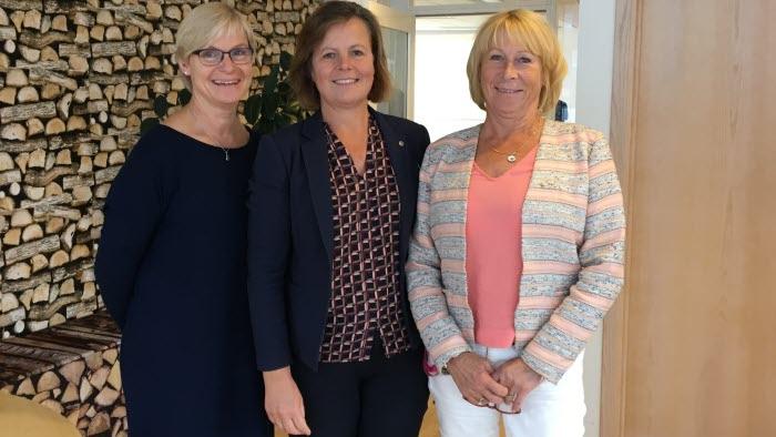 Köttrådet har arrangerats för första gången. Från vänster Maria Dirke, ansvarig för nöt och lamm på LRF Kött, Åsa Odell ordförande för LRFs köttdelegation samt Margareta Åberg, grisansvarig på LRF Kött.