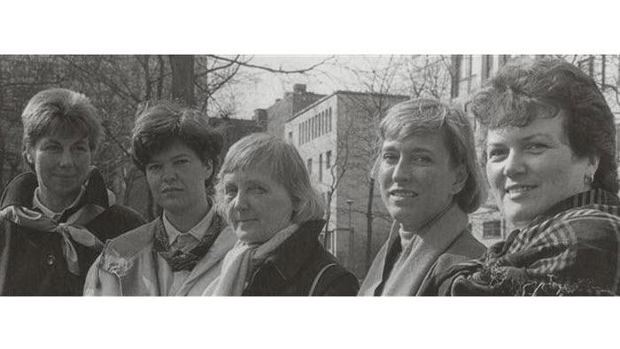 EMILIA - gruppen. På bilden Marit Bengtsson, Margaretha Pettersson, Anna-Brita Malmsten, Ulla Norberg-Ivarsson och Yvonne Kardell banar väg för kvinnorna i LRF.