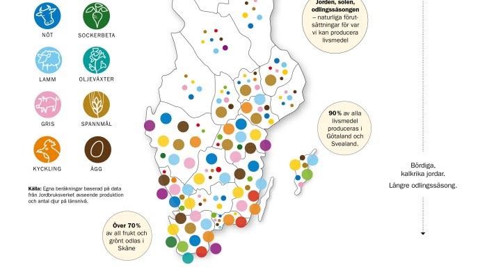 Sverigekarta - här finns livsmedelsproduktionen