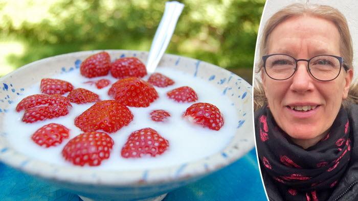Det blir jordgubbar i midsommar, säger jordgubbsodlaren Eva Axelsson i Värvet