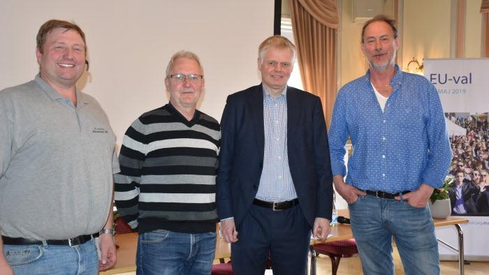 Anders Andersson, ordförande LRF Mellerud, Lars-Olof Ottosson ordförande LRF Åmål, Carl-Johan Lindén, tjänsteman EU-kommissionen och Magnus Lindh, professor Karlstads universitet