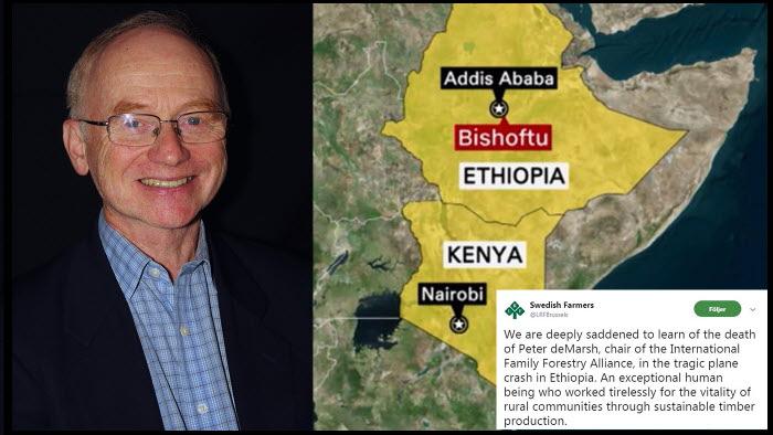 IFFAs ordförande Peter deMarsh en av de förolyckade i flygkraschen i Etiopien. Skogsvärlden har sorg