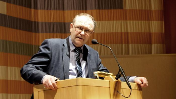 Arne Lindström, LRF Västerbottens ordförande, under regionstämman i Umeå 2015.