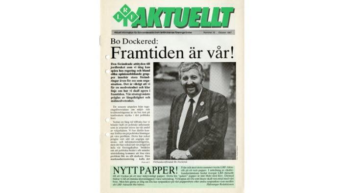 Nummer 10/1987 av LRF-Aktuellt, med förbundsordförande Bo Dockered på framsidan.
