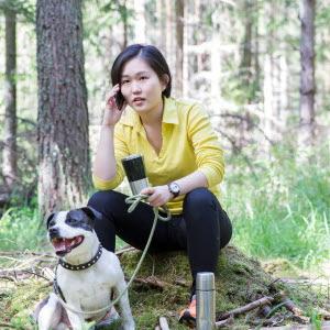 Företagare sitter på stubbe i skogen