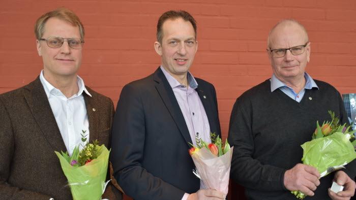 Silvernålsmottagare 2018 VG Lars Gezelius, Håkan Eriksson och Lars Hillström