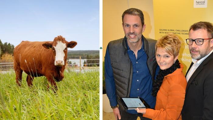 Hencols vd Johan Karlberg och styrelseledamoten Patrik Bergman är nöjda med att LRF går in som delägare i bolaget. LRFs vd Anna Karin Hatt tror mycket på digitaliseringen.