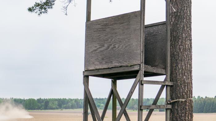 Jaktttorn utanför Esplunda Lantbruk. Foto: Ester Sorri.