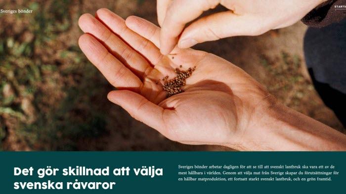 Skärmdump sajten Sveriges bönder