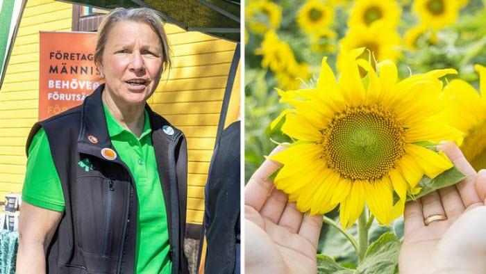 Rose-Marie Winqvist LRF och solros i kampanjen Gilla företagsamhet