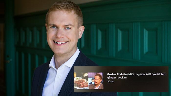 Gustav Fridolin, utbildningsminister, äter kött flera gånger i veckan.