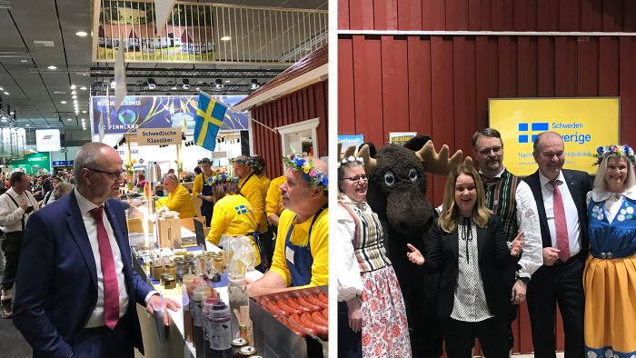 Palle Borgström och landsbygdsministern Jennie Nilsson besökte förstås den svenska montern på Grüne Woche