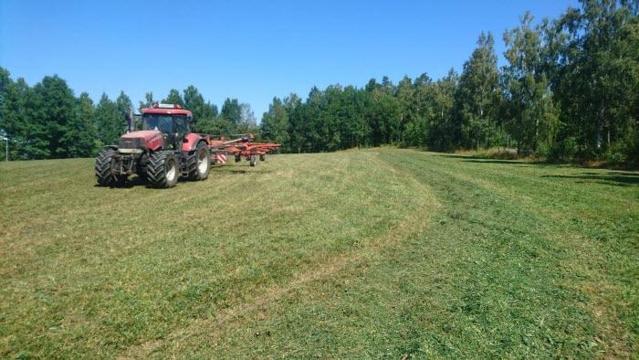 Henrik Svensson i LRFs regionsstyrelse Jönköping skördar grovfoder i torkan