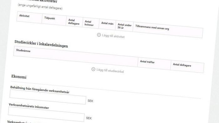 Skärmdump av verksamhetsberättelseverktyget