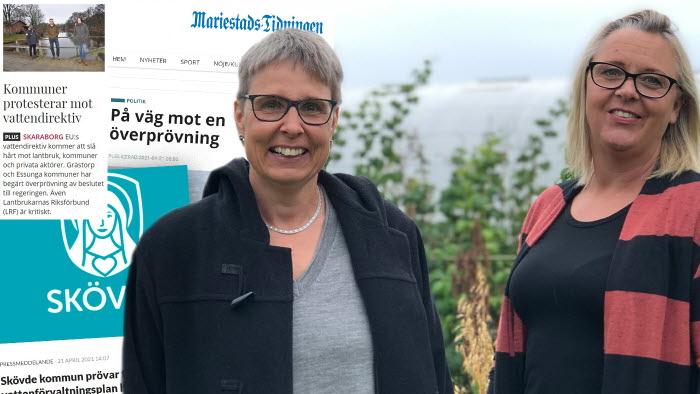 Fler kommuner överprövar vattendirektivet. Josefina Guttman och Zarah Mellgren som är med i kommungruppen i Lidköping.