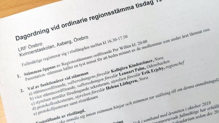 Föredragningslista regionstämma Örebro
